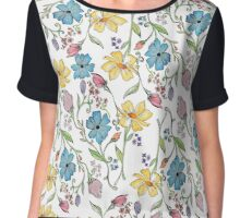 Spring flowers pattern in watercolor Chiffon Top