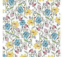 Spring flowers pattern in watercolor Photographic Print