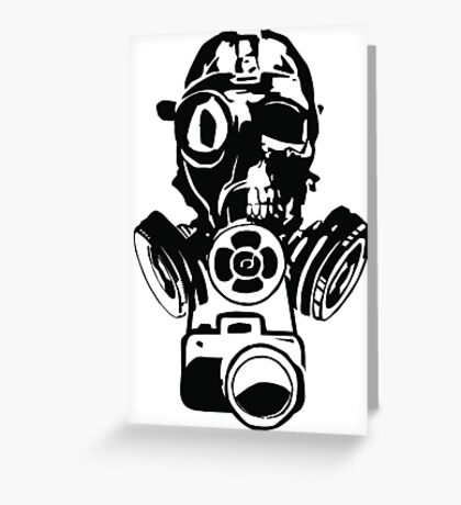 Urban Exploration Gas Mask Photography Greeting Card