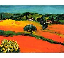 TUSCANY LANDSCAPE  WITH SUNFLOWERS Photographic Print