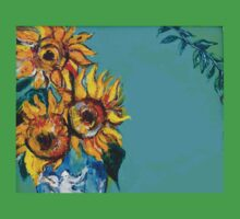 SUNFLOWERS IN BLUE TURQUOISE Baby Tee