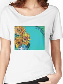 SUNFLOWERS IN BLUE TURQUOISE Women's Relaxed Fit T-Shirt