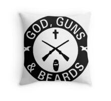 God Guns Beards Throw Pillow