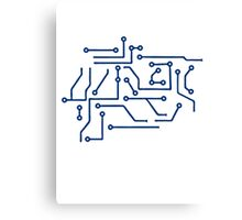 circuitry lines microchip disk pattern cool lines Canvas Print