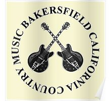Bakersfield California Country Music (Black) Poster