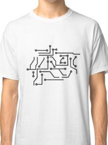 circuitry lines microchip disk pattern cool lines Classic T-Shirt