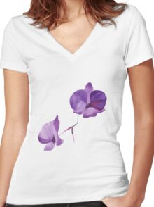 Summer watercolor beautiful tropical flower Women's Fitted V-Neck T-Shirt