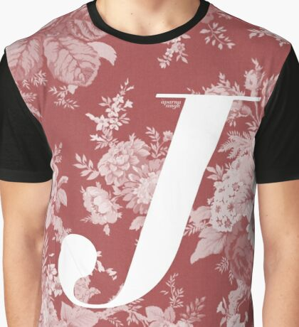 'J' Letter, Vintage Literary Print Graphic T-Shirt