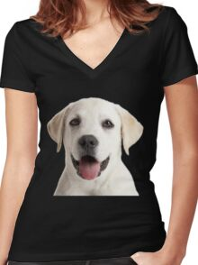 Labrador puppy Women's Fitted V-Neck T-Shirt