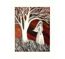The girl and the tree. Art Print