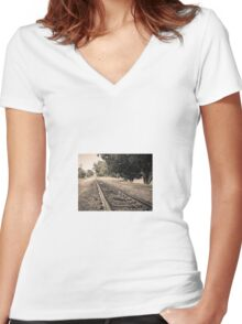 Railway track Women's Fitted V-Neck T-Shirt
