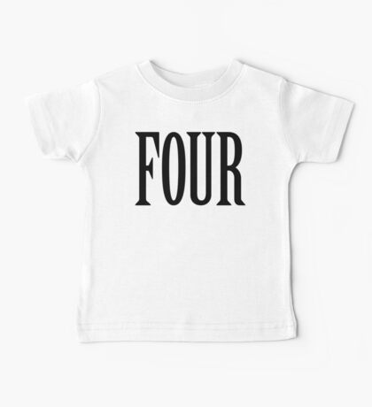 FOUR, 4, TEAM SPORTS, NUMBER 4, FOURTH, Competition, BLACK Baby Tee