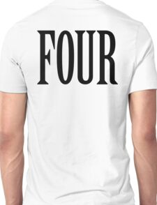 FOUR, 4, TEAM SPORTS, NUMBER 4, FOURTH, Competition, BLACK Unisex T-Shirt