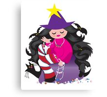 the beading witch with black cat and beads Canvas Print