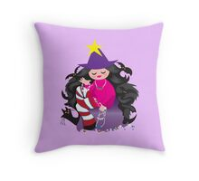 the beading witch with black cat and beads Throw Pillow