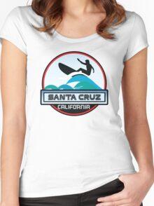Surfing Santa Cruz California Surf Surfboard Waves Women's Fitted Scoop T-Shirt