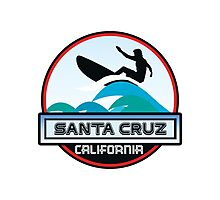 Surfing Santa Cruz California Surf Surfboard Waves Photographic Print