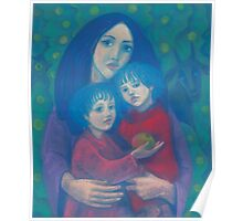 Bedtime fairytale, pastel painting, mother and children, fine art, fantasy, blue, green, pink colors Poster