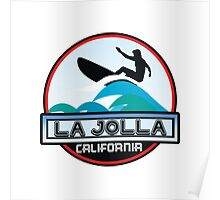 Surfing LA JOLLA California Surf Surfboard Waves Ocean Beach Vacation Poster