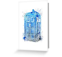 Tardis Colour Doctor Who Watercolour Watercolor Painting Greeting Card