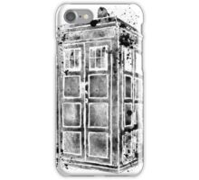 Tardis Black & White Watercolor Watercolour Painting iPhone Case/Skin
