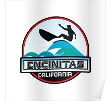 Surfing ENCINITAS California Surf Surfer Surfboard Waves Ocean Beach Vacation Poster