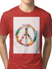 Floral Peace Sign Tri-blend T-Shirt