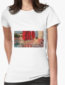 Red Stripes at the Pool Womens Fitted T-Shirt