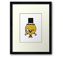 robot sir mr gentlemen cylindrical hat glasses monocle man manikin sweet cute funny comic cartoon cyborg Framed Print