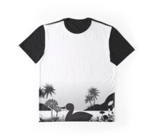 Duck Sihouette Romance Black & White Graphic T-Shirt