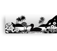 Duck Sihouette Romance Black & White Canvas Print