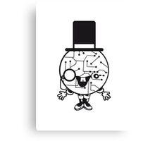 robot sir mr gentlemen cylindrical hat glasses monocle man manikin sweet cute funny comic cartoon cyborg Canvas Print
