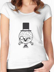 robot sir mr gentlemen cylindrical hat glasses monocle man manikin sweet cute funny comic cartoon cyborg Women's Fitted Scoop T-Shirt