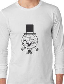 robot sir mr gentlemen cylindrical hat glasses monocle man manikin sweet cute funny comic cartoon cyborg Long Sleeve T-Shirt