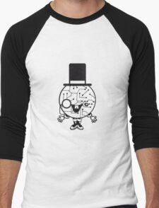 robot sir mr gentlemen cylindrical hat glasses monocle man manikin sweet cute funny comic cartoon cyborg Men's Baseball ¾ T-Shirt