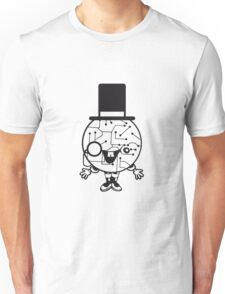 robot sir mr gentlemen cylindrical hat glasses monocle man manikin sweet cute funny comic cartoon cyborg Unisex T-Shirt