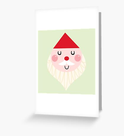 Adorable christmas Santa with Red Hat Greeting Card