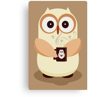 OWL AND CUPPA Canvas Print