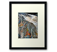 Maple Leaves Underlined at Livermore Falls Framed Print