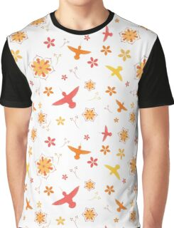 Hummingbirds and Flowers - Pinks and Yellows Graphic T-Shirt