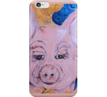 Blue Ribbon Pig iPhone Case/Skin