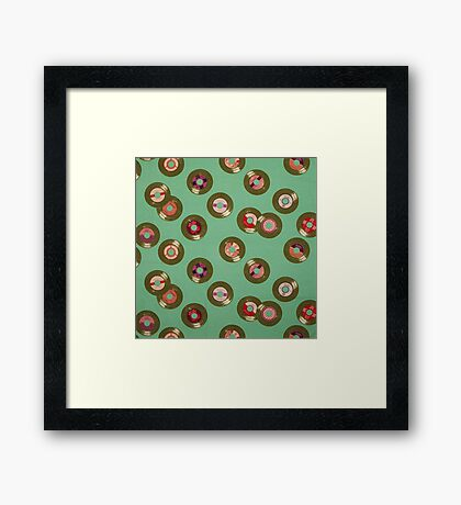 green disk record retro fabric Framed Print