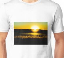 Yellow sunset behind barbed wire Unisex T-Shirt