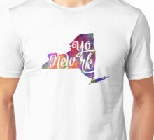 New York US State in watercolor text cut out Unisex T-Shirt