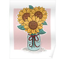 Happy Sunflowers in a Mason Jar Poster