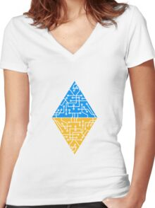 diamond-2 triangles form microchip technology cool design pattern Women's Fitted V-Neck T-Shirt