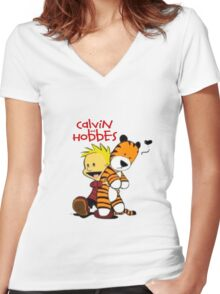 Calvin And doll hobbes Women's Fitted V-Neck T-Shirt