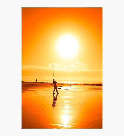 lone fisherman fishing on the Ballybunion beach Photographic Print