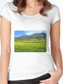 Fields in yellow Women's Fitted Scoop T-Shirt
