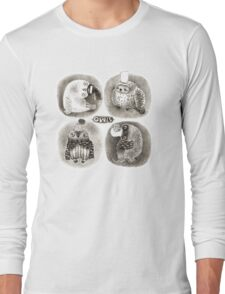 Four Pastel Owls in Funny Hats Long Sleeve T-Shirt